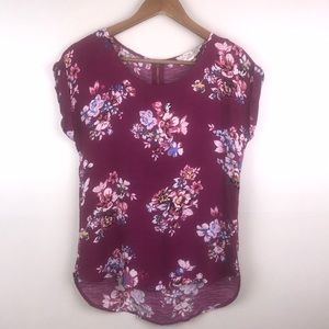 PINK REPUBLIC Short Cuff Sleeve Pink Floral Blouse